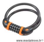 Antivol vélo spiral a code d12 x 0.80m noir/orange avec support marque Rangers - Antivol Vélo