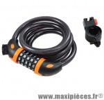 Antivol vélo spiral a code d12 x 1.50m noir/orange avec support marque Rangers - Antivol Vélo