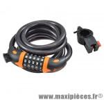 Antivol vélo spiral a code d12 x 1.80m noir/orange avec support marque Rangers - Antivol Vélo