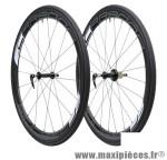 Roue route 700 (paire) carbone carbona 45mm avec boyau moyeux annulaires hg 11/10 marque Tufo - Matériel pour Vélo