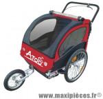 Remorque/poussette enfant 2 en 1 (2 roues 20 pouces et 1 roue 12 pouces) avec frein - rouge marque Atoo - Matériel pour Vélo