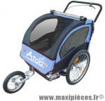 Remorque/poussette enfant 2 en 1 (2 roues 20 pouces et 1 roue 12 pouces) avec frein - bleu marque Atoo - Matériel pour Vélo