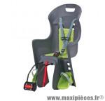 Porte bébé arrière sur cadre boodie gris coussin vert <22kgs marque Polisport - Pièce Vélo
