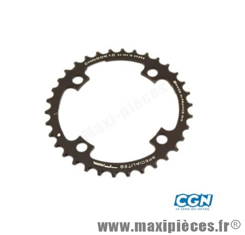 Plateau 34 dents VTT triple diamètre 104 interm noir 4 branches chinook 10v marque Spécialités TA - Matériel pour Vélo