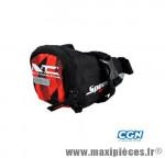 Sacoche selle a velcro noir/rouge (140x70mm) (volume 0.5l) marque No Contest - Accessoire Vélo