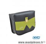 Sacoche vélo pyrènes crochet noir mat/vert (paire) - 31 x 27 x 11 cm - Accessoire Vélo Pas Cher