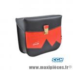 Sacoche vélo pyrènes crochet noir mat/rouge (paire) - 31 x 27 x 11 cm - Accessoire Vélo Pas Cher