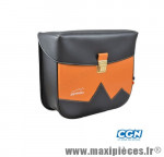 Sacoche vélo pyrènes crochet noir mat/mandarine (paire) - 31 x 27 x 11 cm - Accessoire Vélo Pas Cher