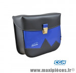 Sacoche vélo pyrènes crochet noir mat/bleu roi (paire) - 31 x 27 x 11 cm - Accessoire Vélo Pas Cher
