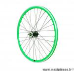 Roue vélo fixie 700 vert arrière axe plein moyeu noir flip/flop 16 dents - Accessoire Vélo Pas Cher