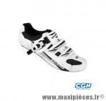 Chaussure route sr4123ab (taille 37) blanc/noir 2 velcros + clic (paire) - Pièces Vélo Exustar