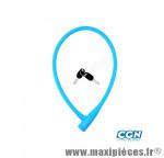 Antivol vélo Câble a clé d12 x 0.75m 100 % silicone bleu - Antivols Vélo Rangers