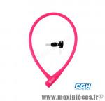 Antivol vélo Câble a clé d12 x 0.75m 100 % silicone rose - Antivols Vélo Rangers