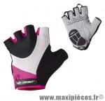 Gant été lady t.l rose/blanc/noir renfort gel (paire) - Casques & Equipements Vélo Gist