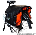Sacoche vélo a pont 2 volumes noir/rouge 100% étanche pour porte bagages (36x13x32) - Matériel pour Vélo Atoo
