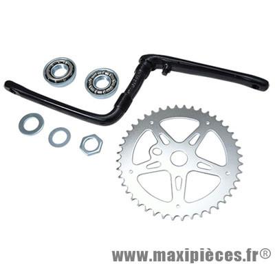 Pédalier BMX monobloc 44 dents argent / manivelle noir (ensemble avec cuvettes) d1/2 - Accessoire Vélo Pas Cher