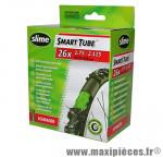 Chambre à air de vélo et de dimensions 26x1.50-2.10 valve schrader avec liquide anti-crevaison marque Slime - Pièce Vélo