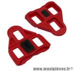 Prix discount ! Cale pédale type look delta rouge mobile (paire) avec vis et plaquette