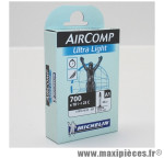 Prix spécial ! Chambre à air Michelin AirComp Ultra Light 700x18 à 23C valve Presta A1 60mm 82g