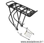 Porte bagage arrière a tringles alu noir réglable 28/26/24 pouces pour cyclotouriste -Pièce Vélo Top Qualité