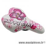 Déstockage ! Selle de vélo pour enfant marque GES Happy Girl blanc et rose 342grs