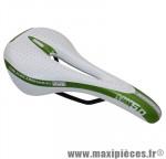 Selle route/VTT mx 5.0 blanc/vert avec trou rail acier 272x140mm marque DDK - Accessoire Vélo