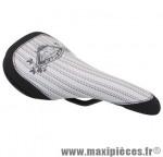Selle BMX ride blanc/noir rail acier 8mm 242x126mm marque DDK - Accessoire Vélo
