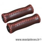 Poignée city vintage cuir marron l125mm marque DDK - Accessoire Vélo
