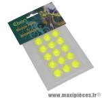 Autocollant réfléchissant jaune fluo rond diamètre 16mm (kit 15 pièces) - Accessoire Vélo Pas Cher
