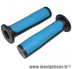 Poignée BMX noir/bleu bi-matière l125mm avec collerette (paire) marque Newton - Pièce Vélo