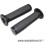 Poignée BMX noir/gris bi-matière l125mm avec collerette (paire) marque Newton - Pièce Vélo