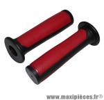 Poignée BMX noir/rouge bi-matière l125mm avec collerette (paire) marque Newton - Pièce Vélo