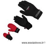 Gant de vélo VTT express long noir M avec flap neoprene protège pluie (paire) marque Chiba - Equipement Vélo