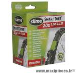 Chambre à air de vélo et de dimensions 20x1.50-2.125 valve standard avec liquide anti-crevaison marque Slime - Pièce Vélo
