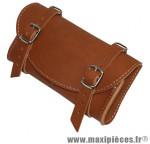 Sacoche de selle vintage style cuir marron - Accessoire Vélo Pas Cher