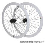 Roues route / fixie 43mm blanc double filetage (avant+arriere) - Accessoire Vélo Pas Cher