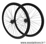 Roues route / fixie 43mm noir double filetage 130mm (avant+arrière)(écrou de roues 3/8x26) - Accessoire Vélo Pas Cher