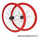 Roues route / fixie 43mm rouge double filetage (avant+arriere) - Accessoire Vélo Pas Cher
