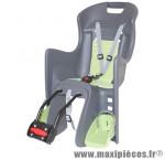 Porte bébé arrière a fixer sur cadre boodie gris coussin vert marque Polisport - Pièce Vélo