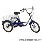 Tricycle adulte 20 pouces bleu 5 vitesses avec panier empattement 0.80m - Accessoire Vélo Pas Cher - Autres vélos complet