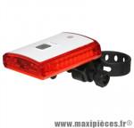 Eclairage vélo a batterie arrière un110 a 3 leds rechargeable usb fixation collier réglable marque Marwi - Pièce Vélo