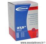 Chambre à air de vélo et de dimensions 27.5x2.10-2.75 valve presta tout alu marque Schwalbe - Pièce Vélo