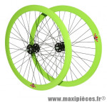 Roues route 700 / fixie 43mm vert double filetage (avant+arrière) - Accessoire Vélo Pas Cher