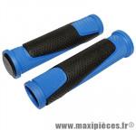 Prix spécial ! Poignée VTT bi-matière bleu fonce/noir l130mm (paire) marque Newton - Pièce Vélo