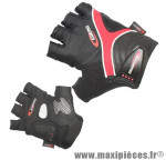 Gant de vélo été bioergo noir/rouge M (paire sous carte) marque GES - Equipement Cycle
