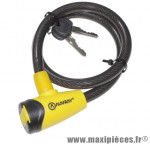 Antivol vélo cable a clé diamètre 12mm l 65cm marque Auvray - Accessoire Vélo