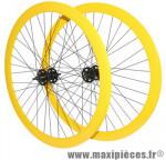Roues route / fixie 43mm jaune double filetage (avant+arriere) - Accessoire Vélo Pas Cher