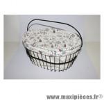 Housse de panier coton blanc colori navy pour panier dimension l40xl30xp25 - Accessoire Vélo Pas Cher