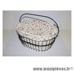 Housse de panier coton blanc deco fraise pour panier dimension l40xl30xp25 - Accessoire Vélo Pas Cher