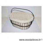 Housse de panier coton gris a pois blanc pour panier dimension l40xl30xp25 - Accessoire Vélo Pas Cher